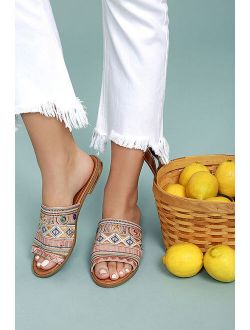 Kamala Beige Embroidered Slide Sandals