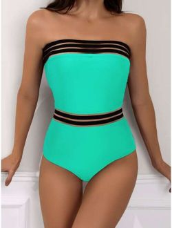 Contrast Mesh One Piece Swimsuit