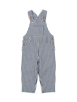 Kite Navy Ticking Stripe Pocket Organic Cotton Overalls - Infant, Toddler & Boys