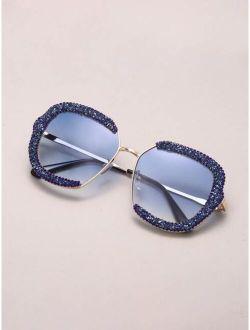Rhinestone Decor Metal Frame Sunglasses