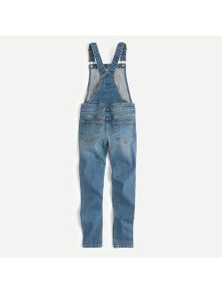 Girls' stretch-denim overalls