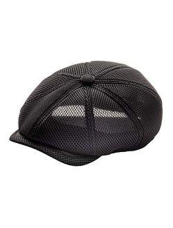 FEINION Men Breathable Newsboy Cap 8 Panel Mesh Summer Hat