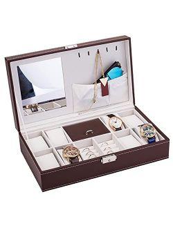 Mushugu gt3-DL Jewelry Box 8 Slots Watch Organizer Storage Case with Lock and Mirror for Men Women Brown