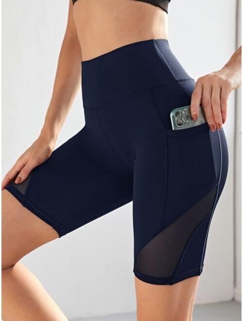 Shein Contrast Mesh High Stretch Biker Shorts With Phone Pocket