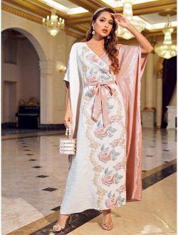 X Dr.kholoud Batwing Sleeve Floral Jacquard Belted Dress