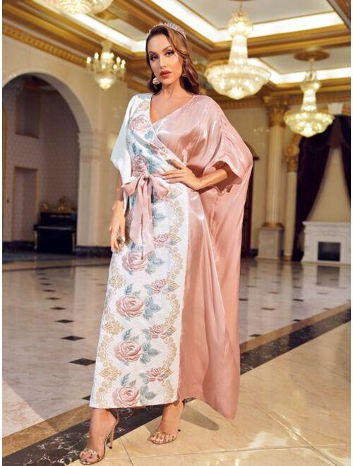 SHEIN X Dr.kholoud Batwing Sleeve Floral Jacquard Belted Dress