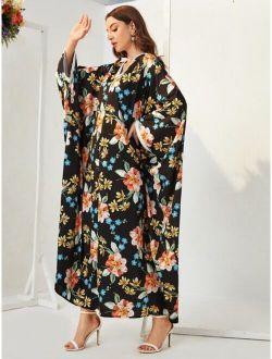 Floral Print Contrast Binding Batwing Sleeve Kaftan