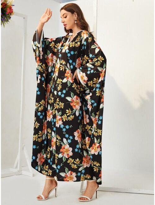 SHEIN Floral Print Contrast Binding Batwing Sleeve Kaftan