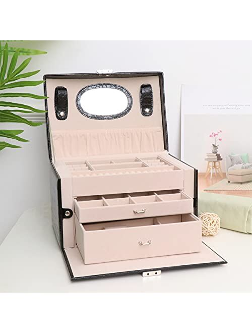 Cabilock Jewelry Storage Box PU Leather Jewelry Display Organizer Travel Case Portable Trinket Holder Container with Mirror for Ring Earring Necklace Bracelet Pink