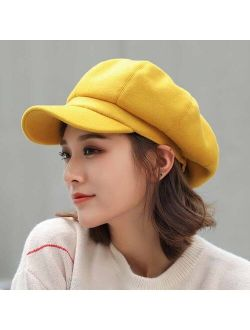 Adjustable Winter Beret For Women Solid Plain Octagonal Newsboy Cap Ladies Casual Wool Hat Girls Painter Cap
