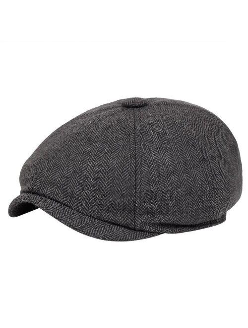 Men beret vintage Herringbone Gatsby Tweed peaky blinders hat Newsboy Beret Hat spring Flat Peaked Beret Hats