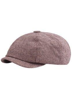 Beret Hats Herringbone Newsboy Baker Boy Tweed Flat Cap Mens Gatsby Hat Women Men A90405