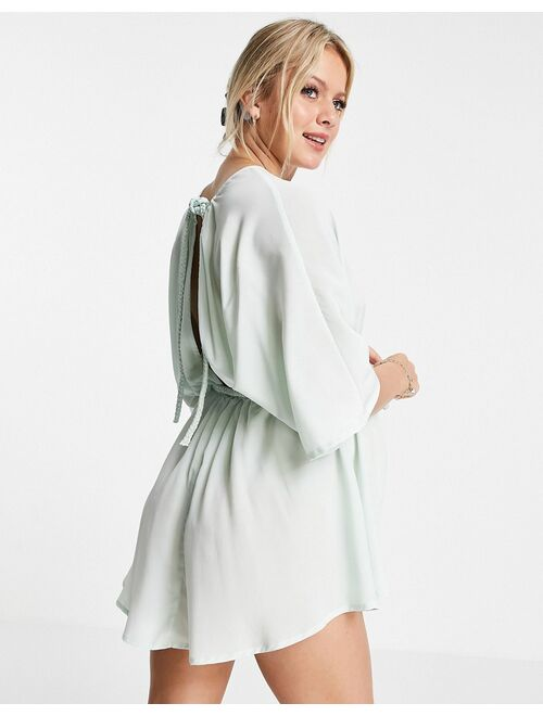 ASOS DESIGN maternity plait belted beach cover up in silky mint