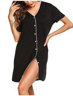 Sleepwear Women's Night Shirt Short Sleeve Casual Sleepshirt Button Down Nightgown S-xxl