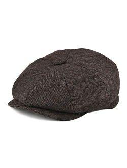 BOTVELA Men's 8 Piece Wool Blend Newsboy Flat Cap Herringbone Tweed Hat