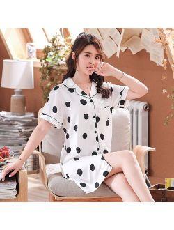 Summer New Satin Chiffon Pajamas Female Short-sleeved Simulation Silk Ladies Polka Dot Printed Shirt Sleep Tops Bielizna Nocna