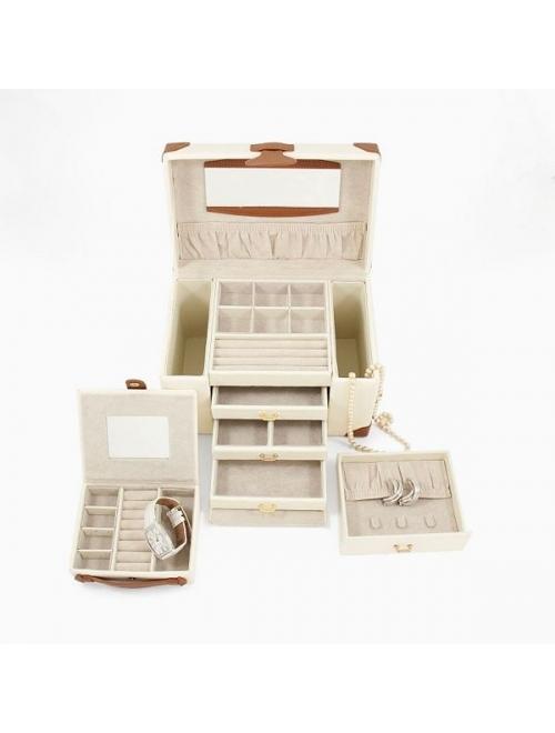 Bey-Berk Ivory Leather Jewelry Box, Travel Case & Valet Tray Set