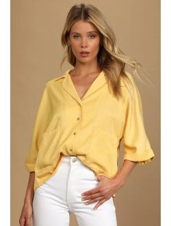 Go The Extra Mile Light Yellow Oversized Button-Up Top