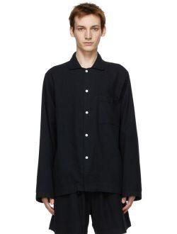Tekla Black Flannel Pyjama Shirt