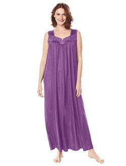 Only Necessities Women's Plus Size Long Tricot Knit Nightgown