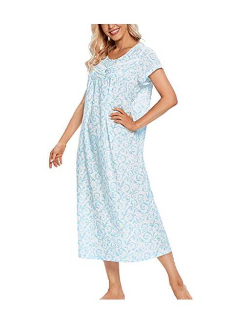 IZZY TOBY Women Short Sleeve Cotton Nightgowns Long, Lightweight Ladies Nightgown Soft & Breathable Sleepwear Nighties