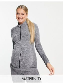 Mamalicious Maternity recycled blend active two tone jacket in gray - part of a set