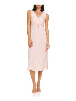 René Rofé Pink & White Abstract Lace-Trim Sleeveless Nightgown - Women