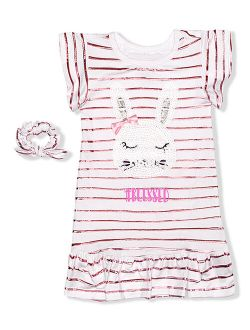 Sweet Dreams Pink Stripe 'Blessed' Bunny Nightgown & Scrunchie - Toddler & Girls
