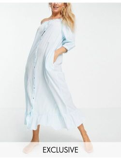 Y.A.S Exclusive sleep dress with ruffle hem in blue