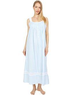 Eileen West Cotton Dobby Stripe Woven Sleeveless Ballet Nightgown