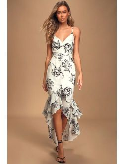 Darling Daylily Black and White Floral Print High-Low Maxi Dress