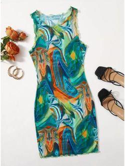 Lettuce Trim Marble Print Bodycon Dress