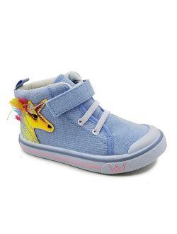 Chulis Footwear Blue & Yellow Unicorn Mila Hi-Top Sneaker - Girls