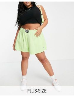 Plus washed high rise shorts in neon green