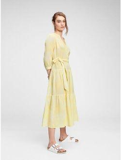 Three-Quarter Sleeve Tiered Maxi Dress