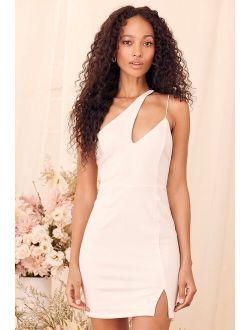 Poised to Party White One-Shoulder Bodycon Mini Dress