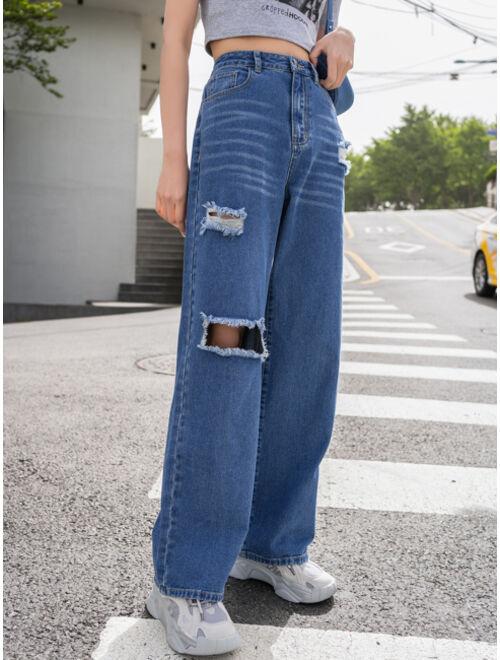DAZY Cat Whisker Ripped Boyfriend Jeans