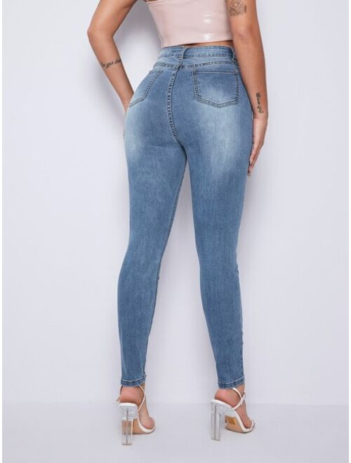 Curvy High Waist Ripped Skinny Jeans