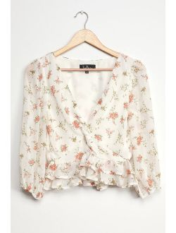 Sweetly Sun-Kissed Ivory Floral Print Twist-Front Peplum Top
