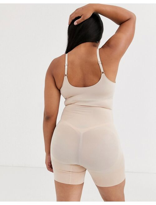 SPANX Plus Size Oncore open bust mid thigh super firm shaping body in beige