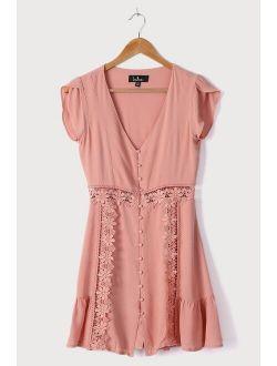 Wistful Wanderer Dusty Pink Crochet Lace Dress