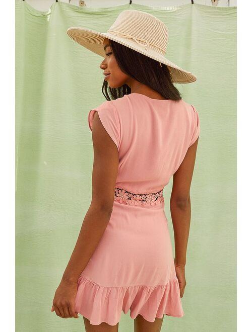 Lulus Wistful Wanderer Dusty Pink Crochet Lace Dress