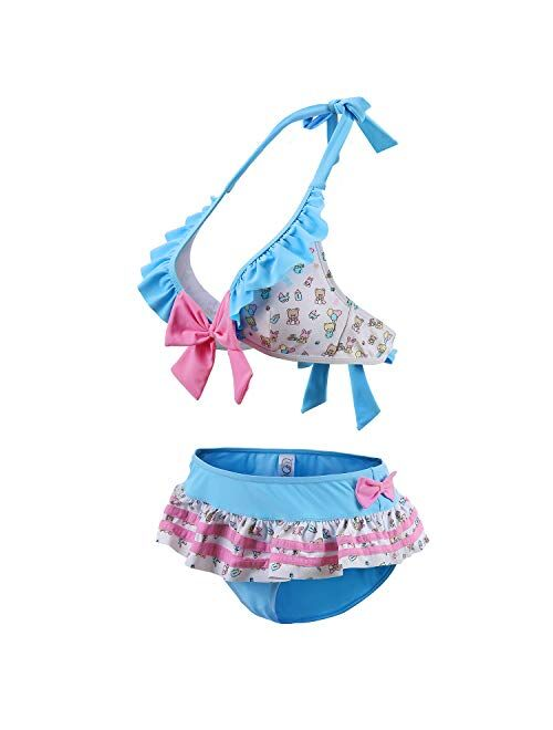 Littleforbig Ruffle Halter V-Neck Bikini Set Two-Piece Swimwear Bathing Suit Swimsuit – Baby Cuties