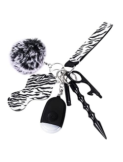 Self Defense Keychain Set for Women and Girls,Chargeable Personal Alarm with LED Light, Kubaton Window Breaker Tool, Pom Pom, Lip Balm Keychain, Emergency Whistle, Touchl