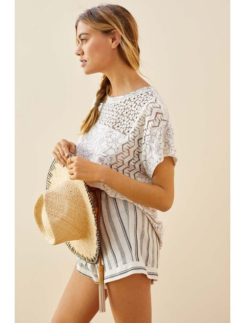 Anthropologie Lacy Cut Out Short Sleeve Tee