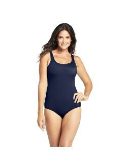 Nds' End Tugless Sporty Tummy Control One-piece Swimsuit