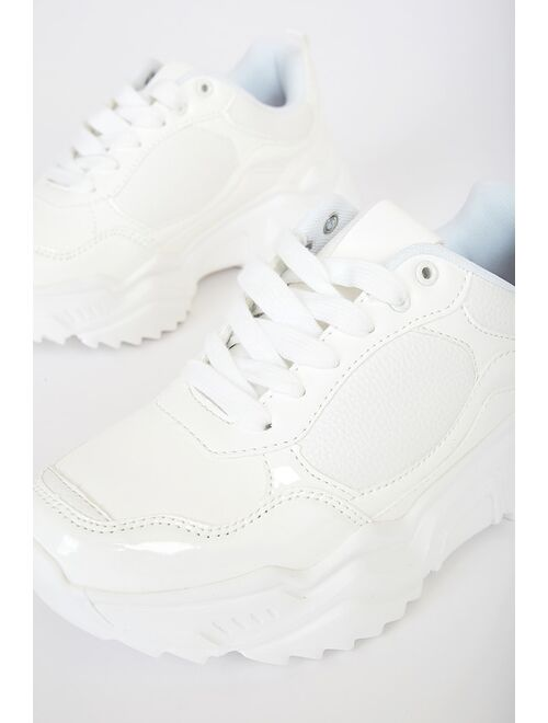Lulus Danie White Chunky Sneakers