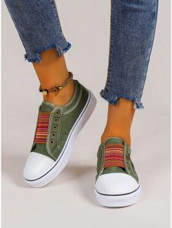 Striped Pattern Slip-On Canvas Sneaker