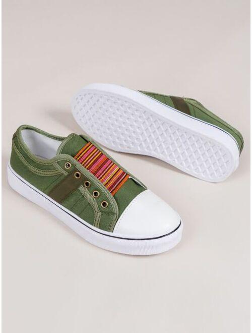 Shein Striped Pattern Slip-On Canvas Sneaker