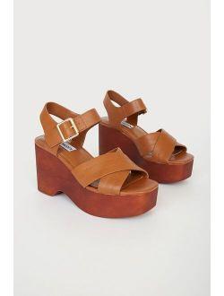 Thriving Cognac Tan Leather Platform Sandals
